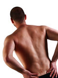 Back pain and surgery. Man with serious back pain and surgery scar Stock Photos