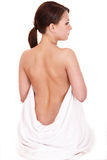 Back pain treatment of young woman. Royalty Free Stock Photography