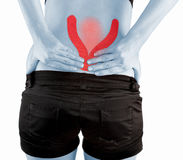Back pain woman. Royalty Free Stock Photo