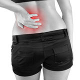 Back pain woman. Royalty Free Stock Image