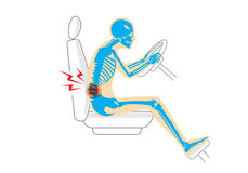 Back pain because wrong posture in driving vector illustration