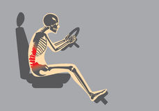 Back pain because wrong posture in driving royalty free illustration