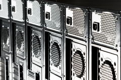 Back part of the black computer casing Royalty Free Stock Images