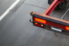Back part with taillight of empty truck cargo trailer Royalty Free Stock Image