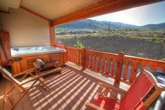Back Patio and Hot Tub with view Stock Images