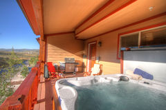 Back Patio and Hot Tub with view Royalty Free Stock Photos