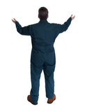 Back of plumber man. Stock Images