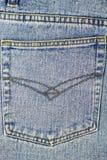Back pocket of blue jeans, denim texture background. Stock Images