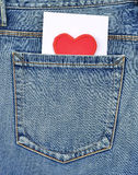 Back pocket of jeans with card Stock Photos