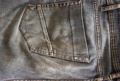 Back pocket jeans close-up. Shabby back pocket. Denim old pocket Stock Photo