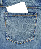 Back pocket of jeans with empty card Stock Image