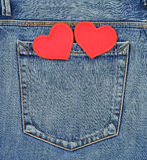 Back pocket of jeans with hearts Stock Image