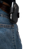 Back Pocket Series - PDA. A PDA (Windows Mobile device) in a holster, attached to a belt of an IT worker, wearing jeans, shot from behind, with back pocket Royalty Free Stock Photos