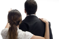 back pointing posing towards woman στοκ φωτογραφία με δικαίωμα ελεύθερης χρήσης