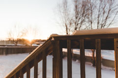 Back Porch View in Winter Stock Photos