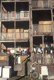 Back porches of decaying apartment housing, Holyoke, Massachusetts Royalty Free Stock Photography