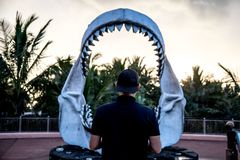 Man in front of megalodon shark jaws stock photos