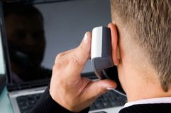 Back pose of boss talking on phone Stock Photography