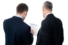 Back pose of handsome young executives. Businessmen analyzing the financial reports royalty free stock images