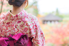 Back of a pretty Japanese girl in beautiful atmosphere. This picture has soft focus stock images