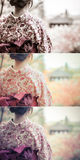 Back of a pretty Japanese girl in beautiful atmosphere in retro Royalty Free Stock Photo