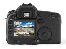 Back of professional digital photo camera. With photo of Matterhorn stock photo