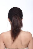 Back Rear Side View of asian woman black hair, studio lighting w Stock Photos