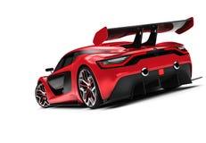 Back of a red custom sport car. 3D illustration Stock Photo
