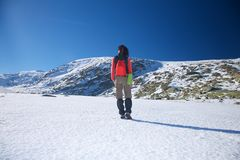Back red hiking woman Royalty Free Stock Photos