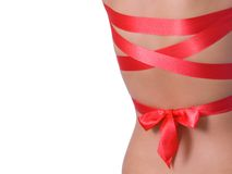 Back with red ribbon Stock Photo