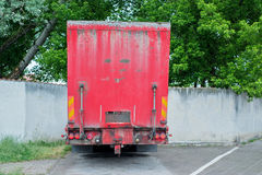 Back of redtruck with hydraulic ramp Royalty Free Stock Photography