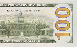 Back Right Half of the New One Hundred Dollar Bill Royalty Free Stock Photography
