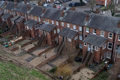 The back or a row of terraced house in the UK stock photography