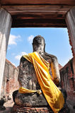 Back of Ruin Buddha Image Royalty Free Stock Photography