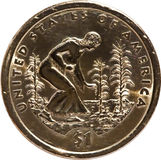 Back of sacajawea gold dollar coin. Rear of sacajawea gold dollar coin Royalty Free Stock Images