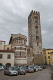 The back of San Frediano church. Lucca. Italy. Stock Photos