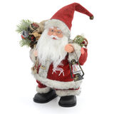Back of Santa Claus. Santa Claus doll with a bag of gifts. Isolated on a white background stock images