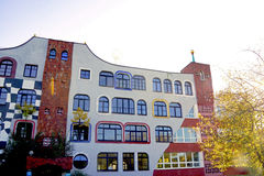 Back of a School in Germany by Hundertwasser. Design School in Germany by Hundertwasser in Sachsen Anhalt Royalty Free Stock Photography