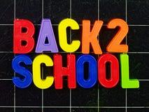 Back 2 school magnetic letters on blackboard. Or chalkboard Stock Photos