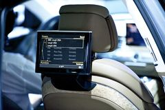 Back Seat Car Display. Car Audio-Video Theme. Back Seat Video Screen Closeup. Technology Photo Collection Stock Image