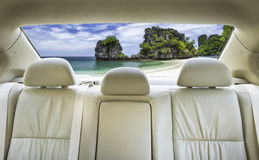 Back seat of the car. The view from the front overlooking the back seat of the car Royalty Free Stock Images