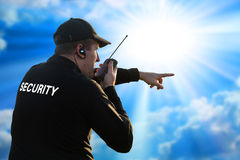 Back of a security guard Royalty Free Stock Image