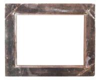 Back side of aged blank wooden photo frame isolated on white background stock image