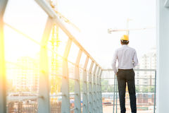 Back side of Asian Indian male site contractor engineer Stock Photography