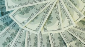 Back side of banknotes. One hundred dollars back side of banknotes rotating stock footage