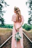 Back Side Of Beautiful Boho Styled Bride Stock Image