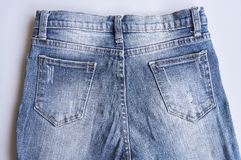 Back side blue denim jeans texture. stock photography