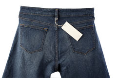 Back side of blue jeans with tag Royalty Free Stock Photos