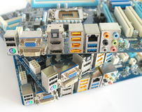 Back side of computer main boards Royalty Free Stock Images