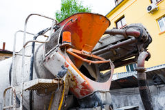 The back side of concrete truck Stock Photography